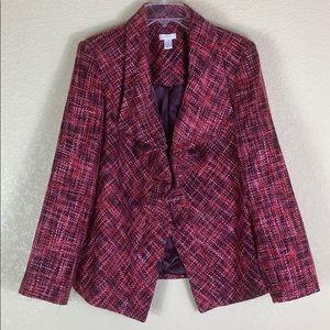 Chico's Pink Red Purple Ruffle Woven Blazer Jacket